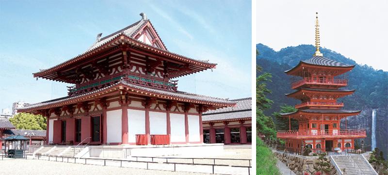 左)奈良・四天王寺/ 右)那智山青岸渡寺三重塔。